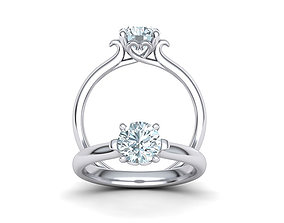 Own design Art-deco Engagement ring with 3D print model 1