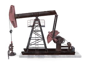 3D model Oil Pumpjack Animated Weathered 2