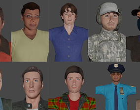 Men collection 3D low poly ready for games