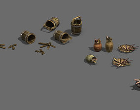 hing tools - animal bones - casks - fishing nets 3D model
