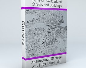 3D model switzerland Geneva Streets and Buildings