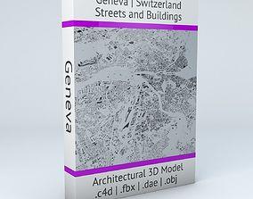3D model switzerland Geneva Streets and Buildings