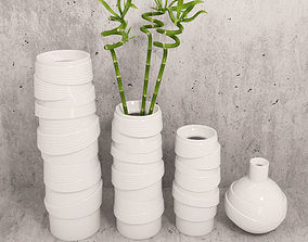 3D model Vases and bamboo set