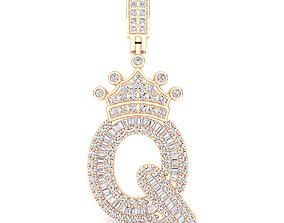 engagem Crown Initial Q Letter Pendant 3D print model
