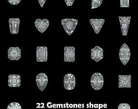 3D printable model Pack of 22 Gemstones shape for 2