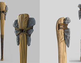 3D asset Stylized Primitive Axes with poor and improved