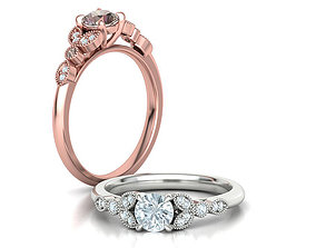 Engagement ring Classic Milgrain ring with 5mm stone