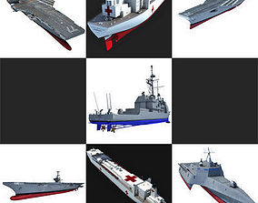 3D model Set of 7 US Navy Ships