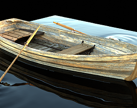 3D Wooden Row Boat