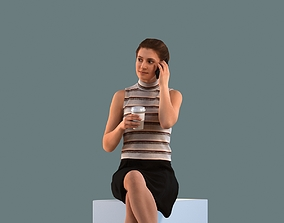 Low poly set of 3D women sitting in various poses