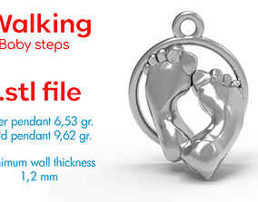 3D printable model Charm in argento passi - walking - 2