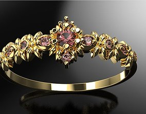 Floral ornament engagement ring 3D print model