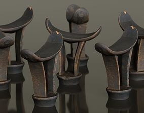 Headrest Africa Wood Furniture Prop 15 3D asset