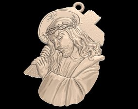 3D printable model Jesus with a cross pendant medallion