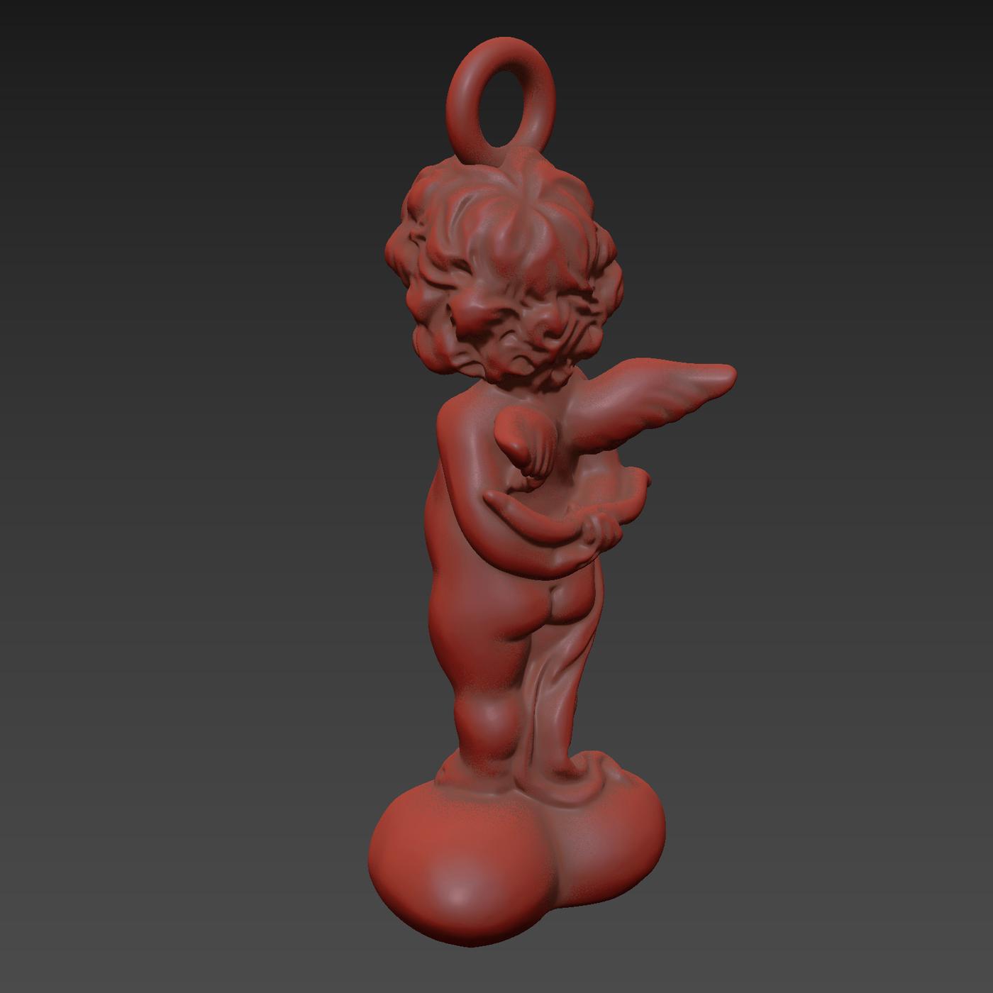 Angel on the heart V4 Pendant jewelry Gold 3D print model