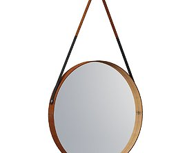 Round Leather Wrapped Mirror 3D model