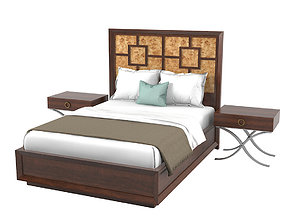 3D model Lexington Harlow Panel Bed158-133c Bedroom Set