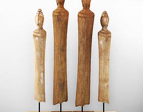 Wood sculpture Buddha 3D