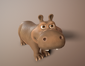 3D model cartoon hippo