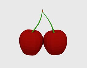 3D model Low Poly Cartoon Cherry
