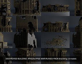 DESTROYED BUILDING APOCALYPSE WAR RUINED PACK 8 3D