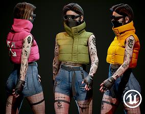 Cyberpunk Character - Tattooed Woman PBR - 3D model