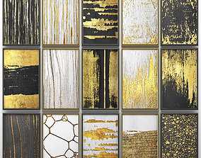 3D Collection of paintings with gold for walls 6