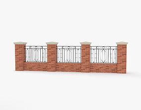 architectural 3D model Brick Fence