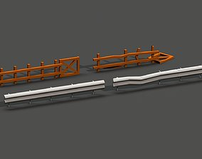 3D asset Post Apocalyptic Road Barrier and Wooden Fence