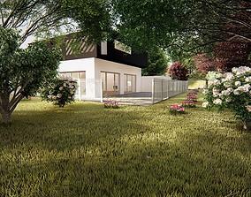 Realistic Modern House Model 3D asset