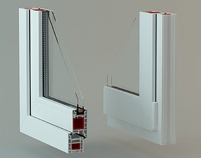 PVC window profile with lighting studio 3D model