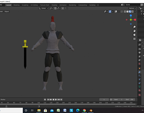 3D asset rigged VR / AR ready knight barbarian