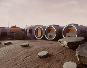 3D model Space Mars Colony Scene