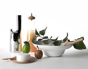3D Carafe Pitcher and Bowl with Calabash Fruit