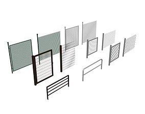 low-poly low-poly 3D model fences graph