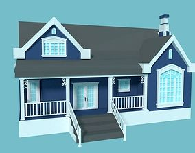 Blue Traditional House 3D asset