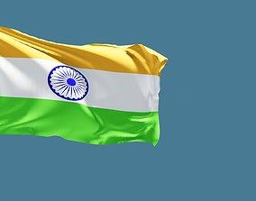 indian flag 3D model symbol animated