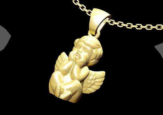 Angel Boy Pendant jewelry Gold 3D print model