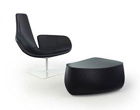 3D Black Plastic Armchair With Footrest