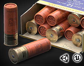 Shotgun shells - cartridges ammo - 3D VR AR game low-poly