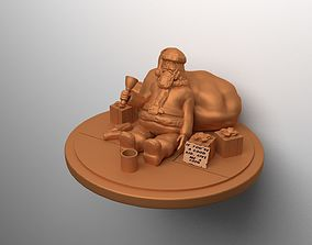 3D printable model Santa Claus homeless