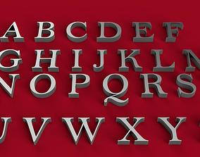 BELL MT font uppercase and lowercase 3D letters STL file