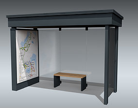 3D model low-poly Bus Stop Shelter