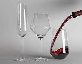 3D asset Red Wine and Champagne glasses