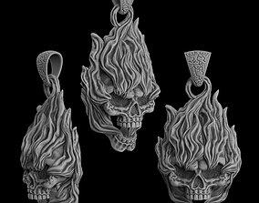 jewellery 3D printable model Pendant Skull on fire