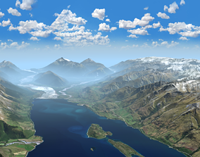 Mountains Landscape - Glenorchy New Zealand 3D
