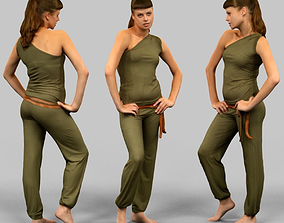 3D asset Woman in green jumpsuit