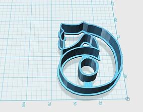 3D print model Vintage number 6 cookie cutter