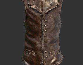 3D asset low-poly Leather Vest Suit Male Character