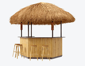 3D beach bar bamboo restaurant sand